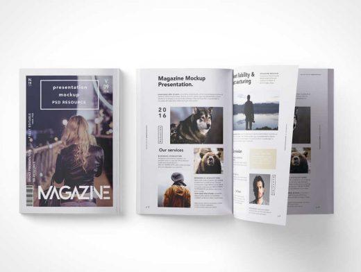 Magazine Overhead Shot PSD Mockup