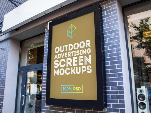 Outdoor Framed Billboard Poster Behind Glass PSD Mockup