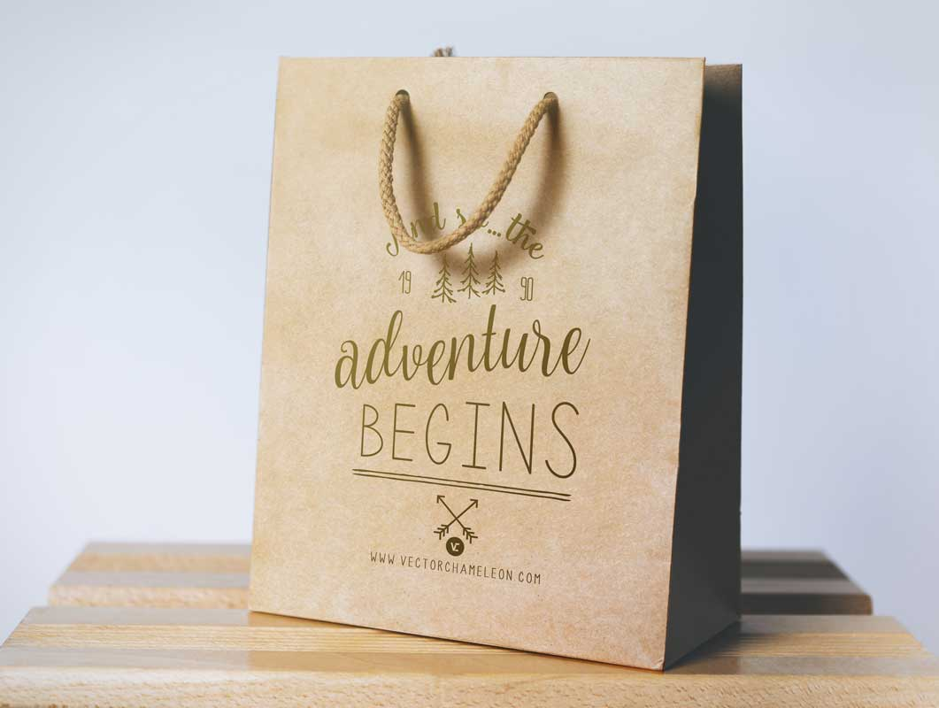 Paper Shopping Bag PSD Mockup