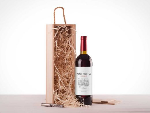 Standing Wine Bottle And Packaging PSD Mockup