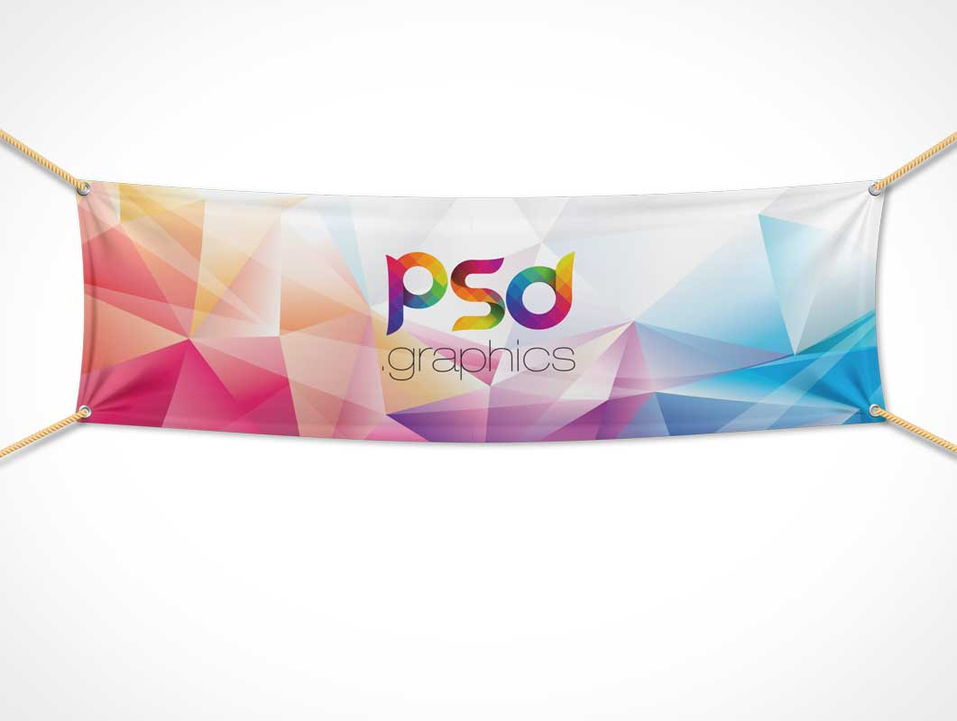 Textile Fabric Banner PSD Mockup