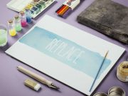 Watercolor Paint & Sketch Scene PSD Mockup