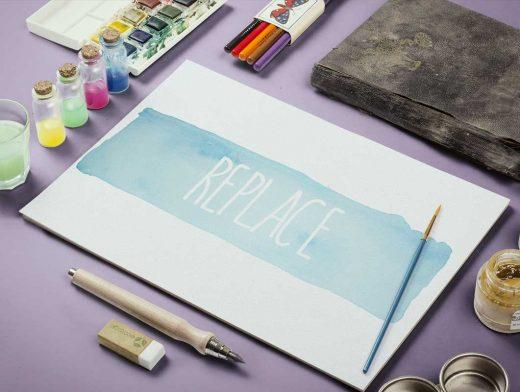 Watercolor Paint & Sketch Scene PSD Mockup