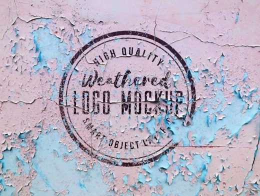 Weathered Logo On Chipping Paint Surface PSD Mockup