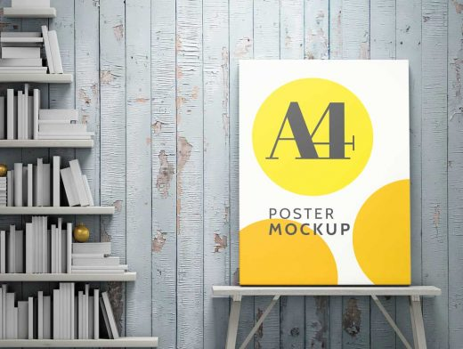 A4 Poster PSD Mockup Template