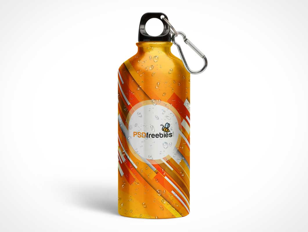 Aluminum Water Bottle With Clip Attachment PSD Mockup