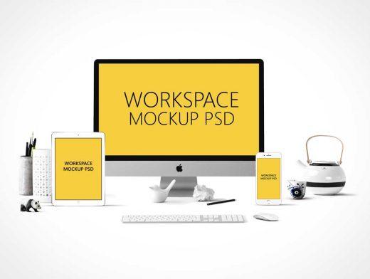 Apple Centric Office Workspace PSD Mockup