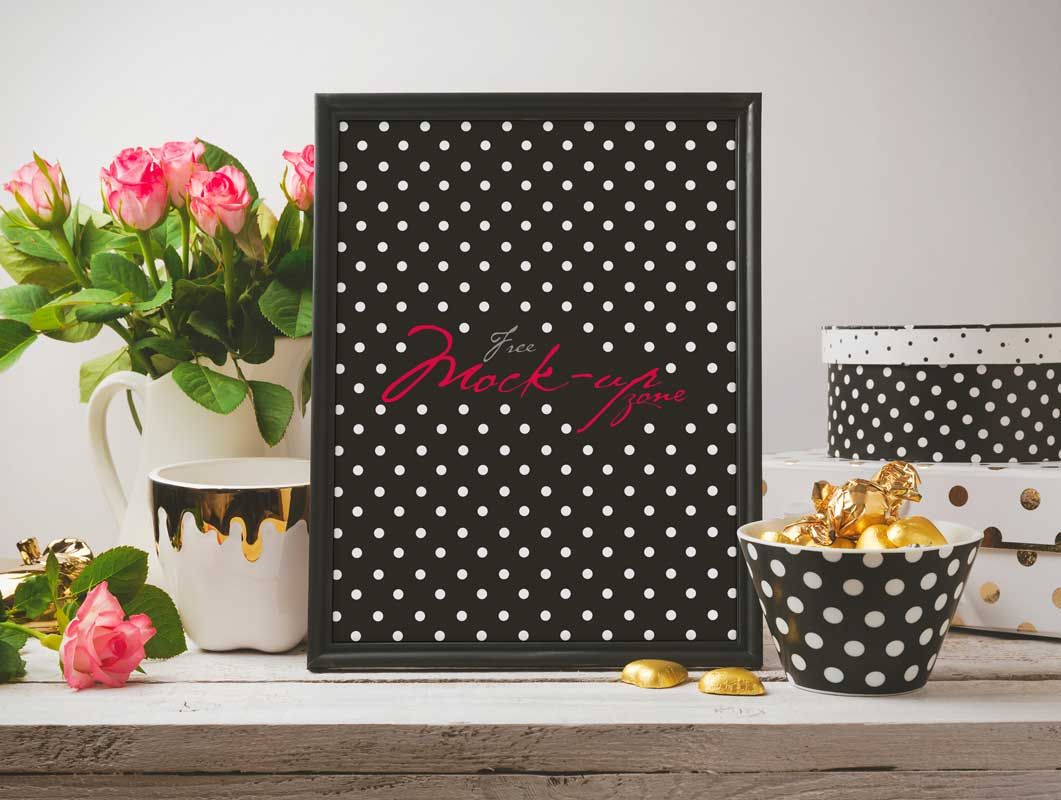 Beautiful Glamour Photo Frame PSD Mockup