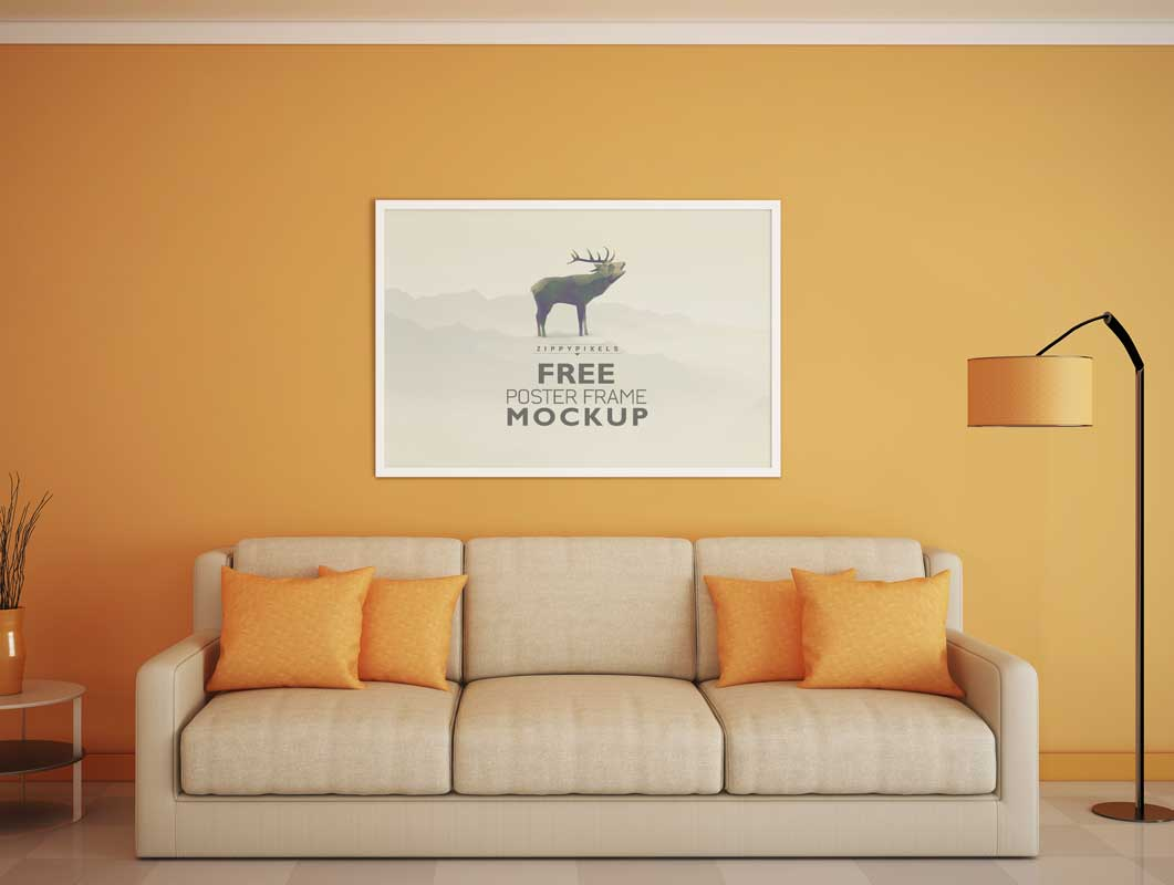 Beautiful Poster Frame Above Living Room Couch Scene PSD Mockup