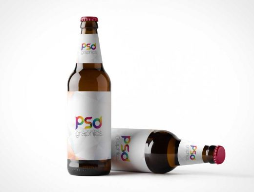Brown Glass Beer Bottle PSD Mockup
