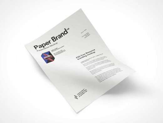 Buckled A4 Paper Sheet PSD Mockup