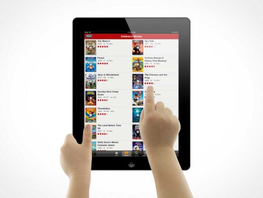 Child Hands Using iPad Tablet PSD Mockup