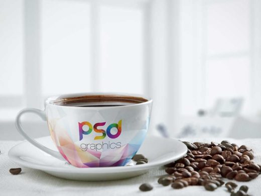 Coffee Beans With Cup PSD Mockup