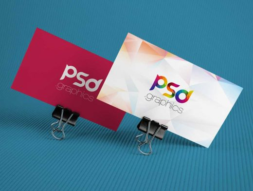 Corporate Business Cards Propped On Binder Clips PSD Mockup