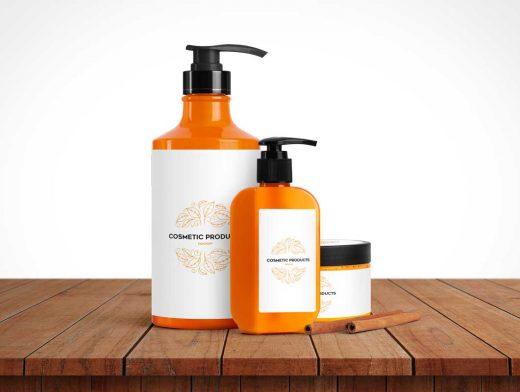 Cosmetic Pump Bottle And Cream Jar PSD Mockup