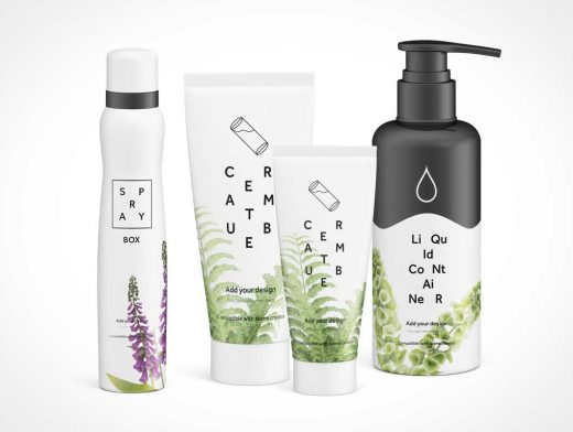 Cosmetics Products Scene Front View PSD Mockup