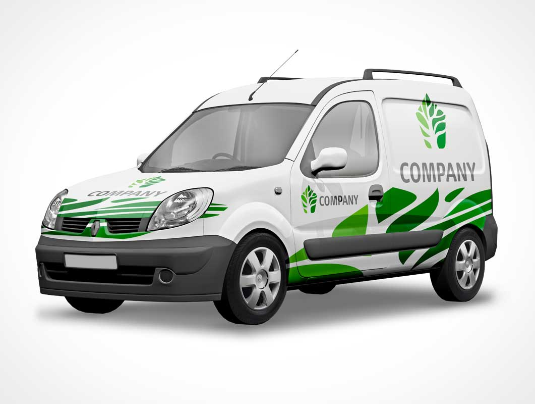 Delivery Van Vehicle Branding PSD Mockup