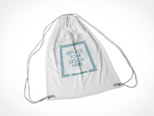 Fabric Drawstring Backpack Bag PSD Mockup
