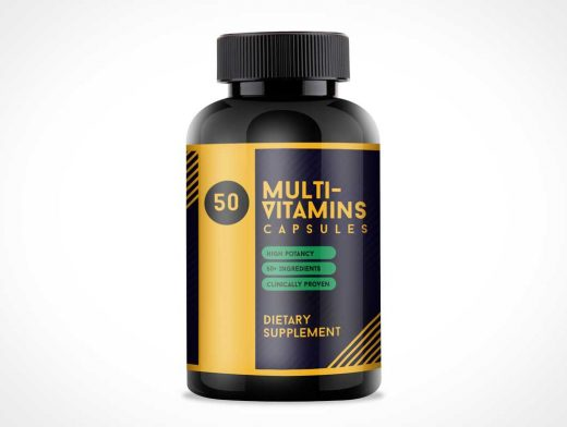 Free Multi-Vitamin Packaging Bottle PSD Mockup