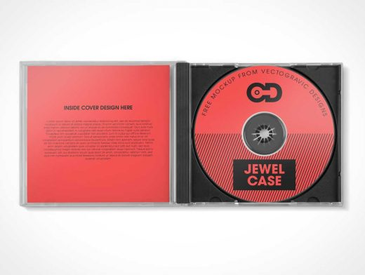 Free Open CD Jewel Case PSD Mockup