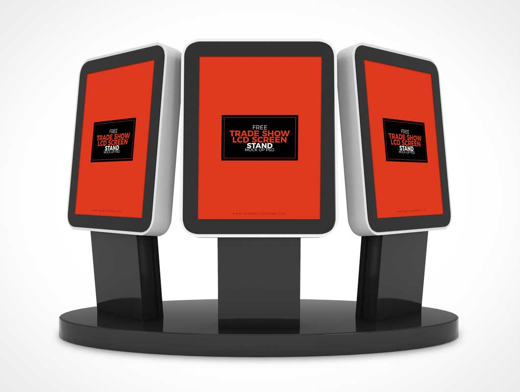 Free Trade Show Booth LCD Screen Stands PSD Mockup
