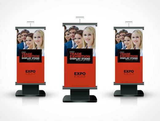 Free Trade Show Exhibition Display Banner PSD Mockup