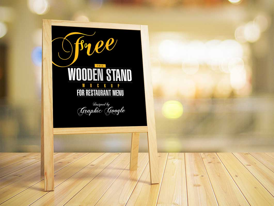 Free Wooden Stand PSD MockUp For Restaurant Menu