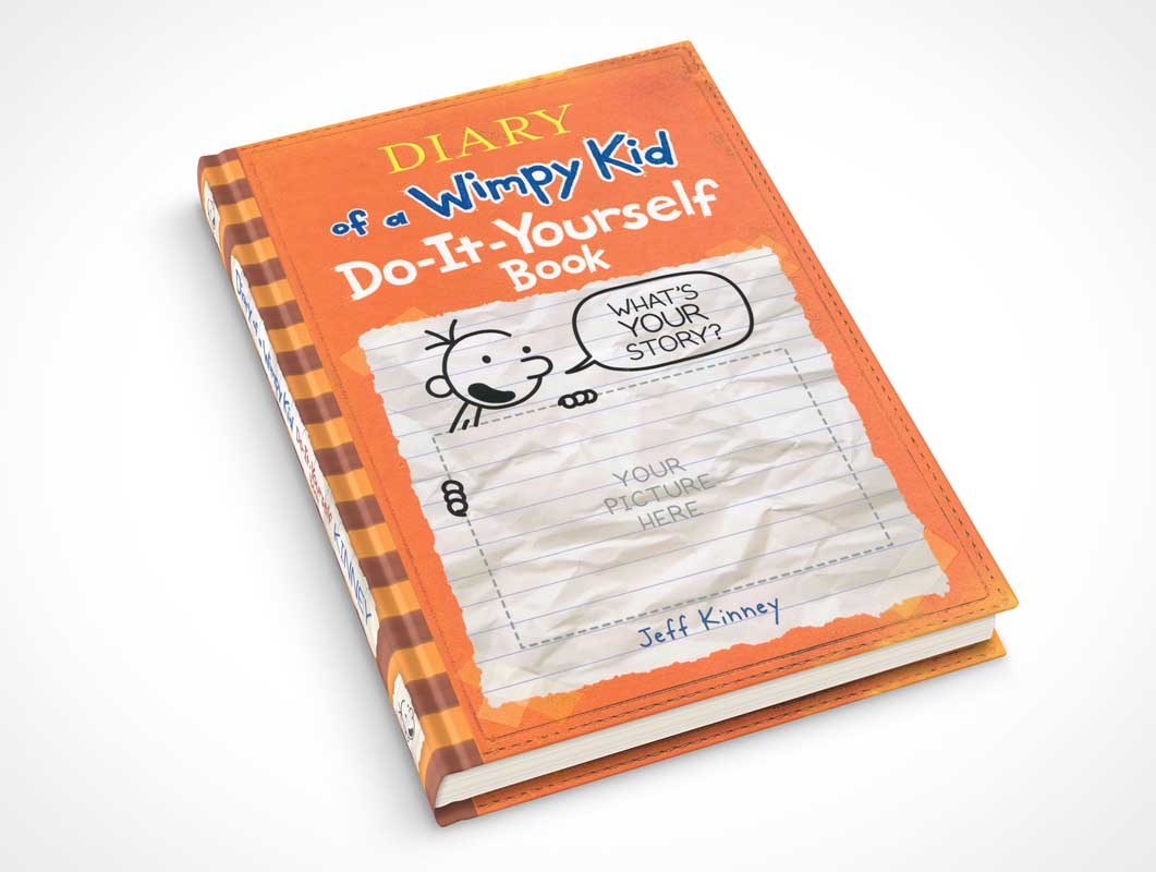 Hardbound Book On Flat Surface PSD Mockup