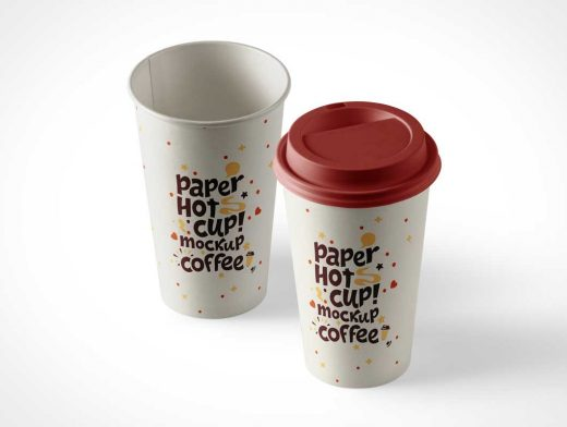 Hot Coffee Paper Cup PSD Mockup With Plastic Lid