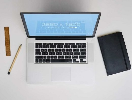 Macbook Pro And Notebook Table Top PSD Mockup