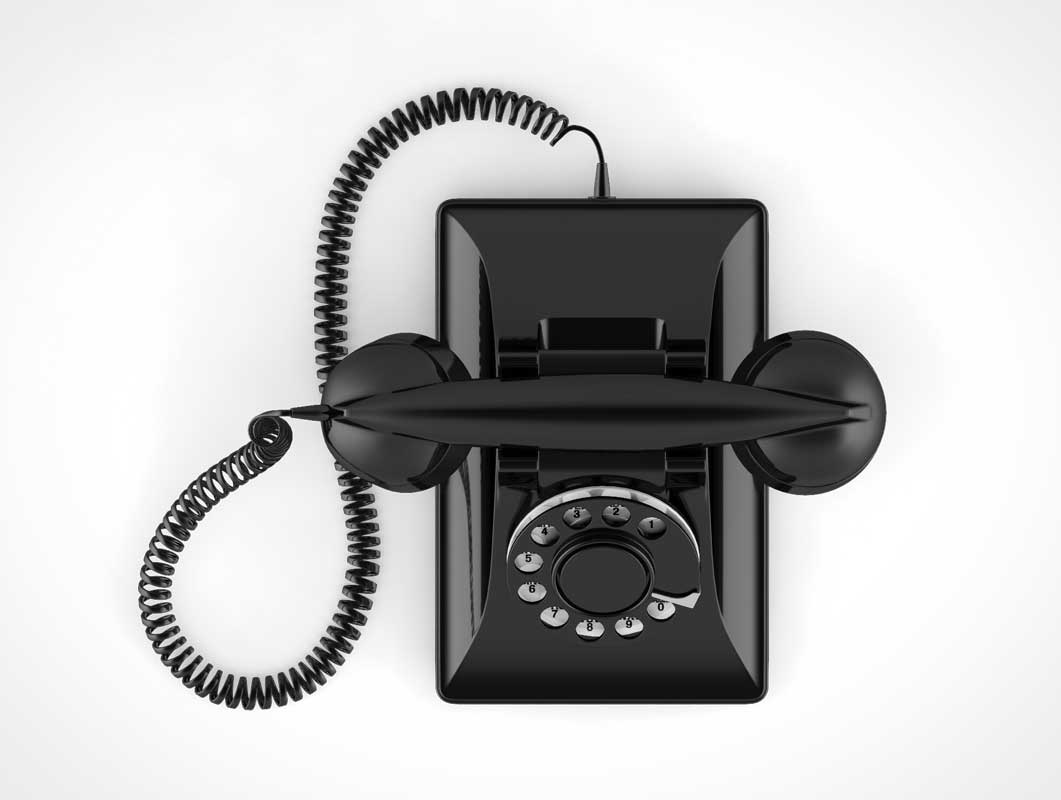 Old Style Rotary Telephone PSD Mockup