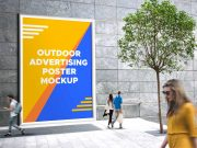 Outdoor Advertising Poster PSD Mockup