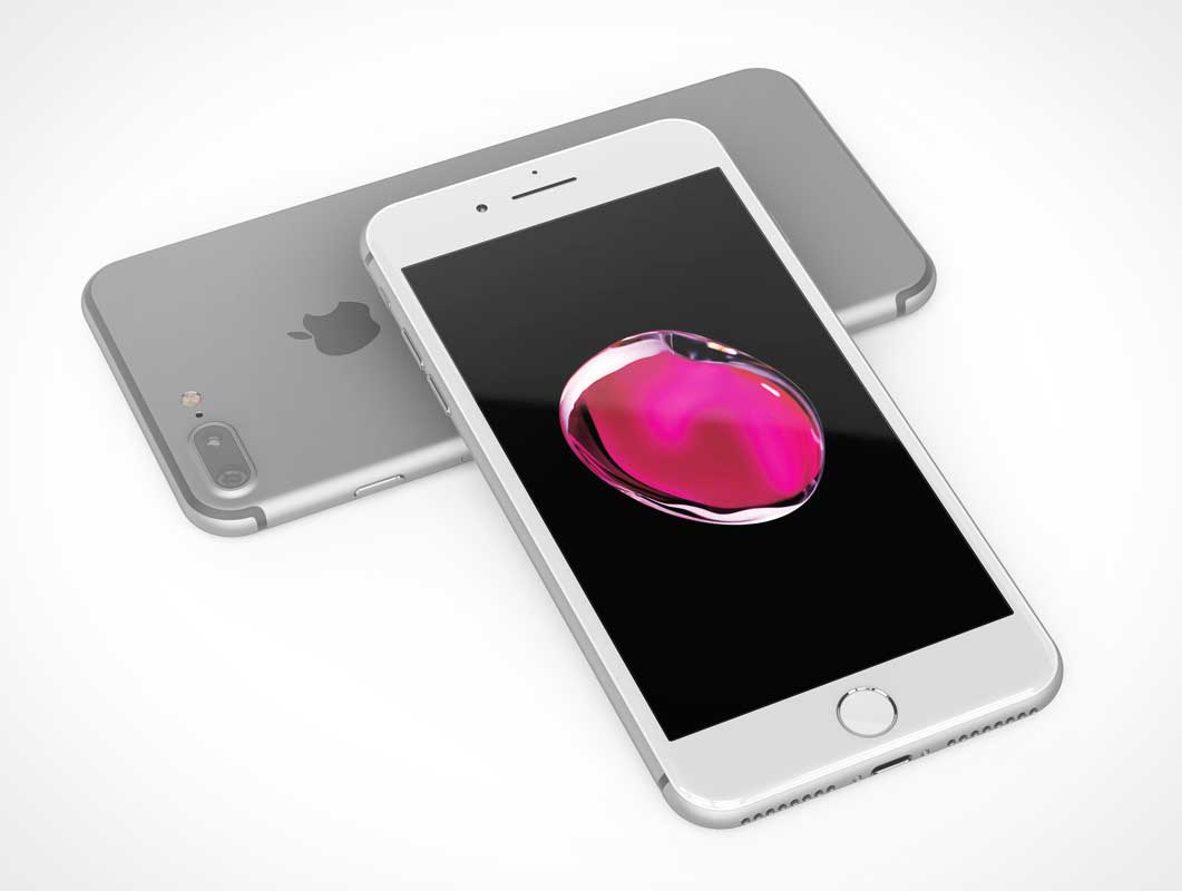 Pair of iPhone 7 Marketing Shots PSD Mockup