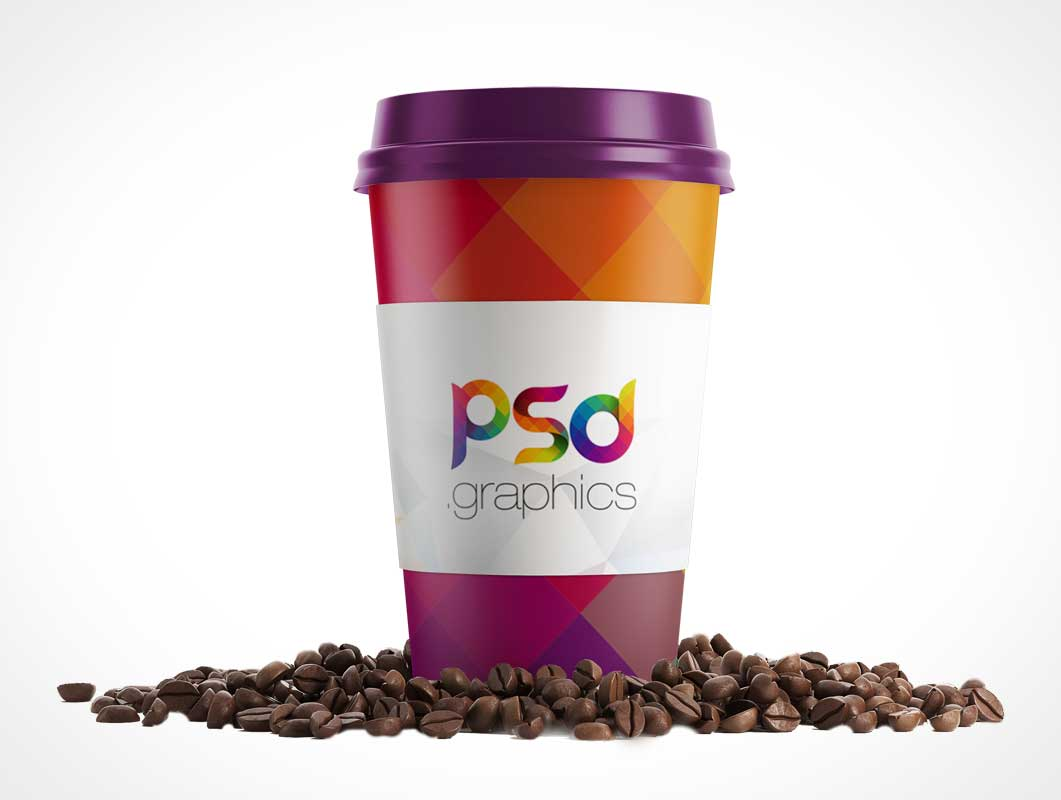 Paper Coffee Cup And Heat Guard PSD Mockup