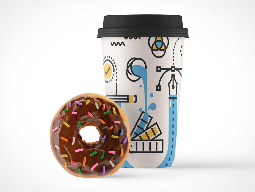 paper coffee cup and sprinkles donut psd mockup psd mockups