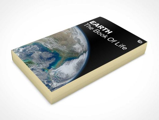 Paperback Book Facing Up From Surface PSD Mockup