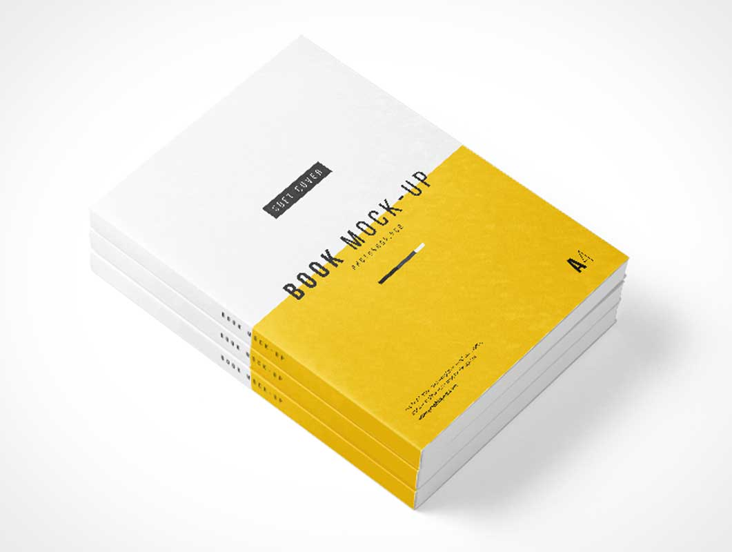 Photoshop A4 Book Stack PSD Mockup