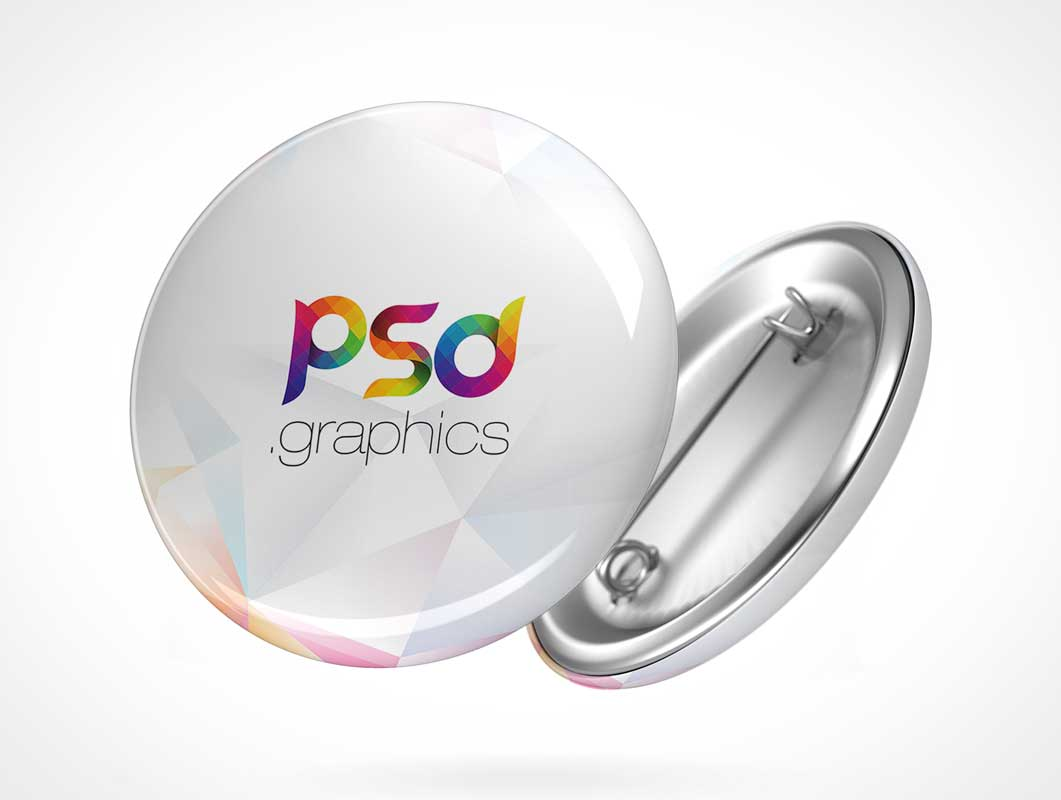 Pin Button Flare Badge PSD Mockup