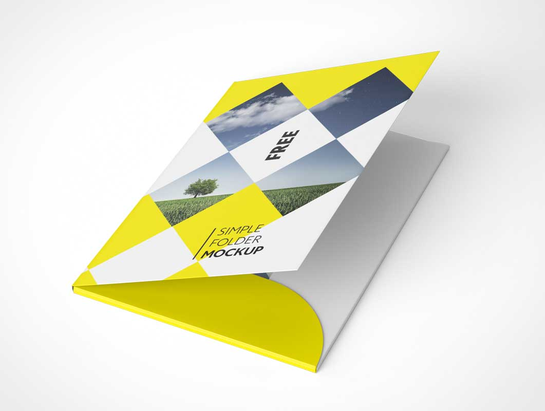 pocket folder partially open psd mockup - psd mockups, Presentation templates