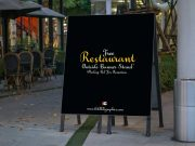 Restaurant Outside Banner Stand PSD Mockup