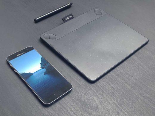 S7 Samsung Smartphone With Wacom Tablet PSD Mockup
