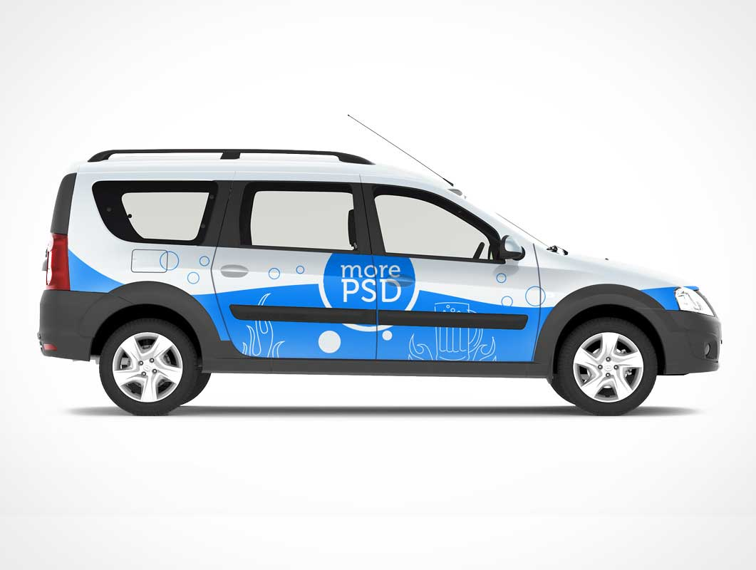 Stationwagon Car Branding PSD Mockup