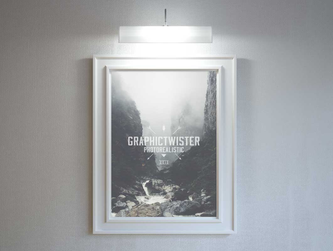 Stylish Hanging Poster Frame With Lighting PSD Mockup