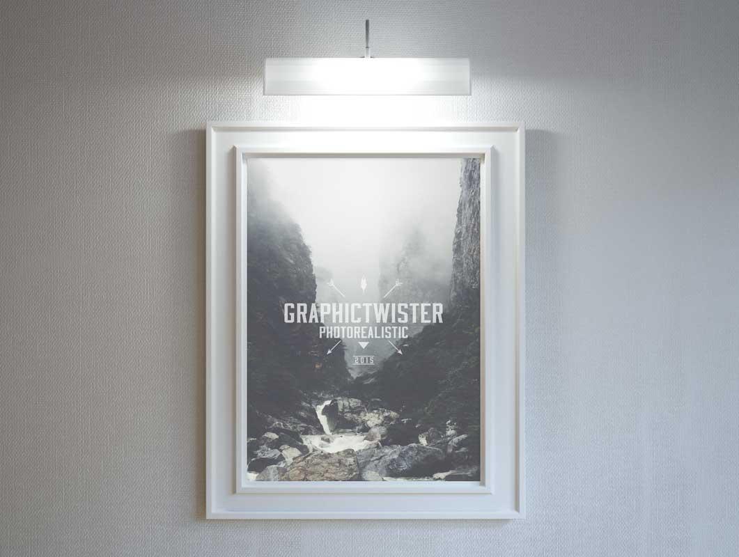 Stylish Hanging Poster Frame With Lighting PSD Mockup