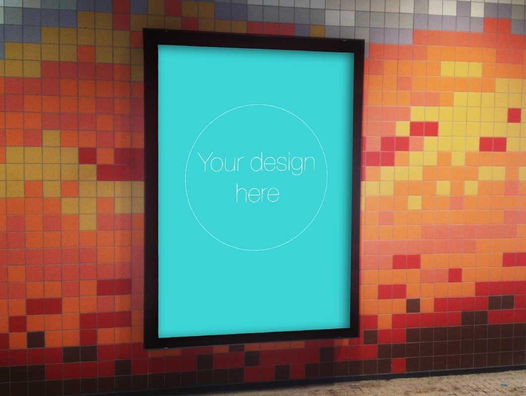 Subway Station Poster Frame PSD Mockup