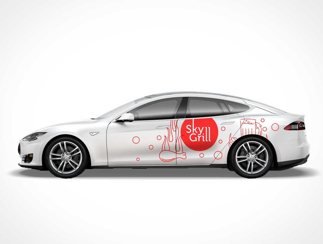 Tesla S Car Branding PSD Mockup