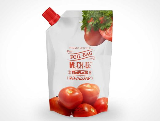 Tomato Ketchup Foil Pouch PSD Mockup Template