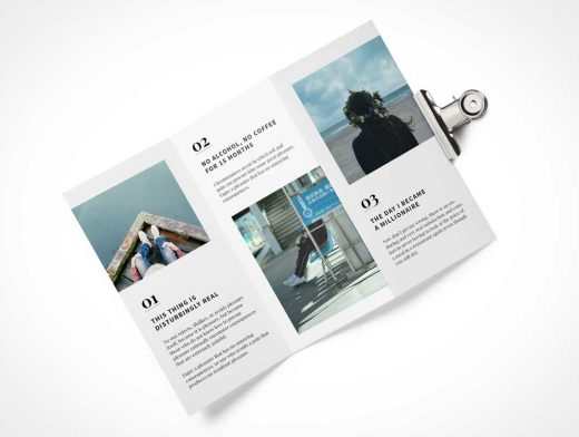 Top View Tri Fold Brochure PSD Mockup