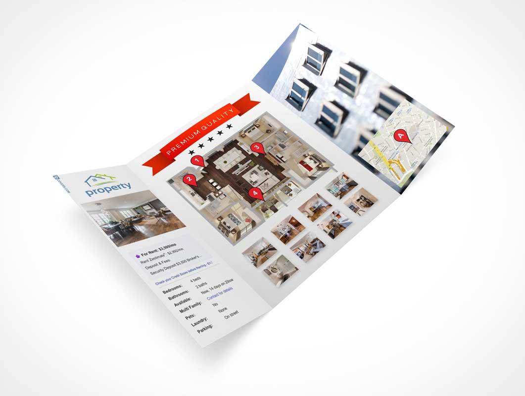 Trifold Gatefold Brochure PSD Mockup