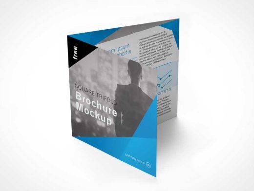 Trifold Square Brochure Leaflet PSD Mockup
